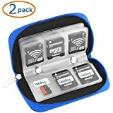 22 Slots SD SDHC MMC CF Micro SD Memory Card Case Holder Pouch Zippered Storage Bag (Blue) - 2 Pack
