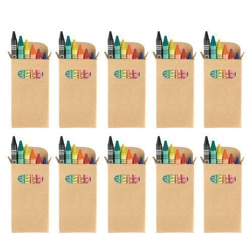 eBuyGB Colouring Wax Crayons - Kids Party Bag / Loot Toy Wedding Favour (Pack of 10) Recycled Cardboard Pencil