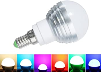 E14 Standard Screw Base 16 Colors Changing Dimmable 3W RGB LED Light Bulb with IR Remote