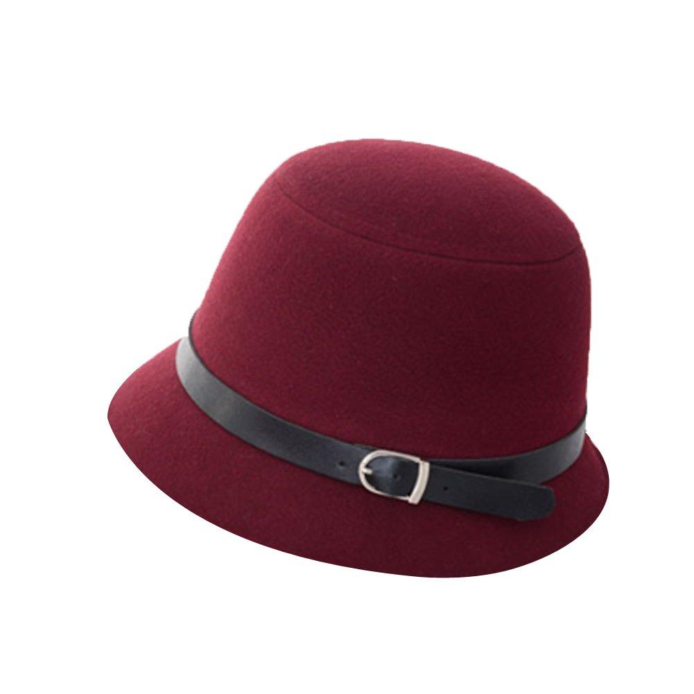 Surker Fashion Women Vintage Wool Belt Buckle Felt Bowler Fedora Derby Hat Cloche Cap CL02516F