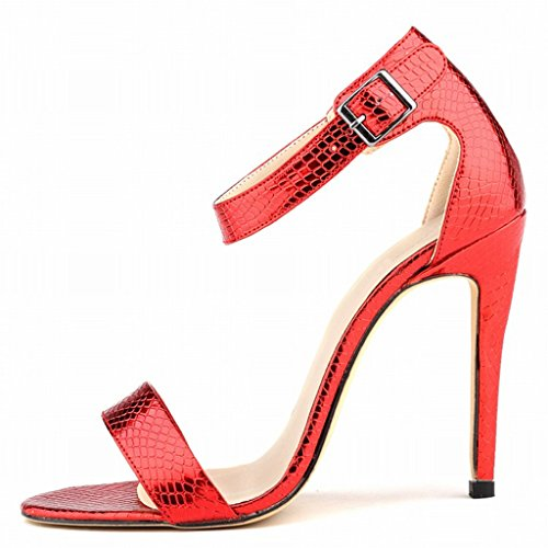 Wotefusi Summer Sandals Red Open Bandage Pattern Heels Stilettos Snakeskin Ankle Strap Shoes Women High Toe rTqwBr