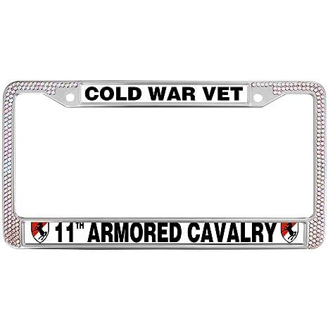 Amazon.com: GND Rhinestone Metal License Plate Frame Cold WAR Vet ...