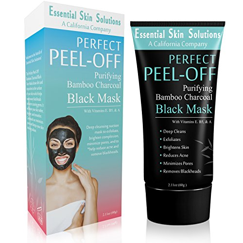Black Charcoal Face Mask - Peel Off Exfoliating Facial Mask - Purifying Pore Minimizer - Brightening Blackhead Remover - Bamboo Detox for Smooth Clear Skin - Helps Reduce Acne & Dark Spots (Solutions Spa Care)