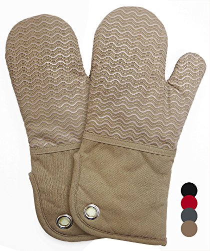 Heat Resistant Kitchen Oven Mitts 500 Degrees With Non-Slip