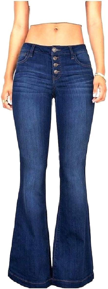 YUSKYWomen Bootcut Casual Weekend Washed Comfort Denim Pants Jeans
