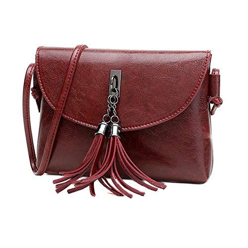 Tassel Wine Bag Mini Red Messenger Women Leather PU Domybest Shoulder Bags Lady Handbags Ow1qPOd
