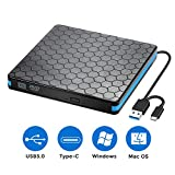 External Optical Drive, CD Drive with USB 3.0 & Type-C for VCD/DVD/CD -ROM/ -R/ +R /-RW Burner/Reader/Writer, Compatible for Windows/Linux/MAC OS