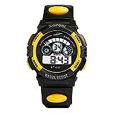 Watch Sports,BCDshop Boy's Multifunction Waterproof Digital LED Quartz Alarm Date Sports Wrist Watch Gift (Yellow, alloy)