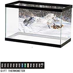 """bybyhome Fish Tank Backdrop Horses,Appaloosa Pony with Dogs,Aquarium Background,30"""" L X 18"""" H(76x46cm) Thermometer Sticker"""