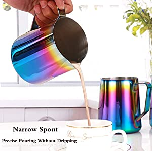 Milk Frothing Pitcher - WeHome Stainless Steel Coffee Milk Frothing Pitcher Creamer Frothing Cup for Espresso Cappuccino Latte Maker from WeHome