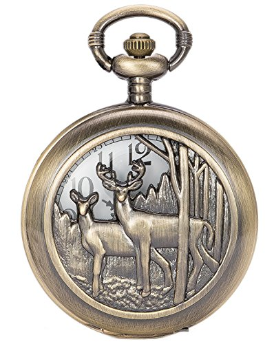 SwitchMe Deer Pocket Watch Hollow Cover with Belt Clip Chain, Gift Idea for Christmas, Birthday (Bronze)