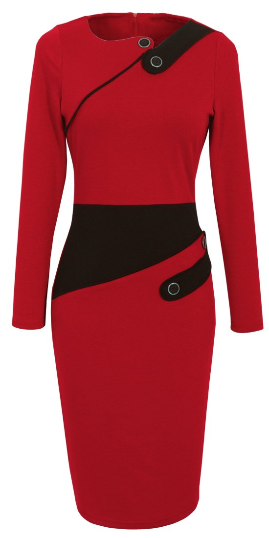 HOMEYEE Women's Voguish Colorblock Wear to Work Pencil Dress B231