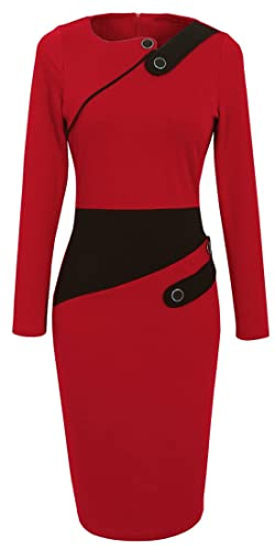 HOMEYEE Women's Voguish Colorblock Wear to Work Pencil Dress B231