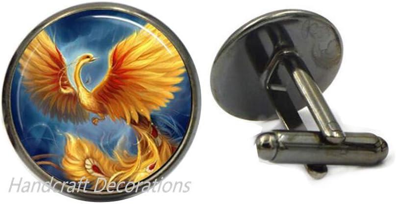 HandcraftDecorations Phoenix Cufflinks, Phoenix Cuff Links, Pheonix Jewelry, Phoenix Charm, Men's Cufflinks,Phoenix Jewelry Fantasy Bird Phoenix.F152