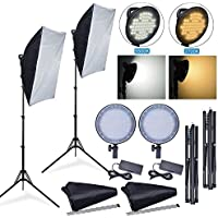 Safstar LED Continuous Lighting Kit Photo Video Studio Photography Softbox 20x27 LED Dimmable Light Kit for Portrait Video Shooting with 2 Stand and Carry Bag (Color changeable)