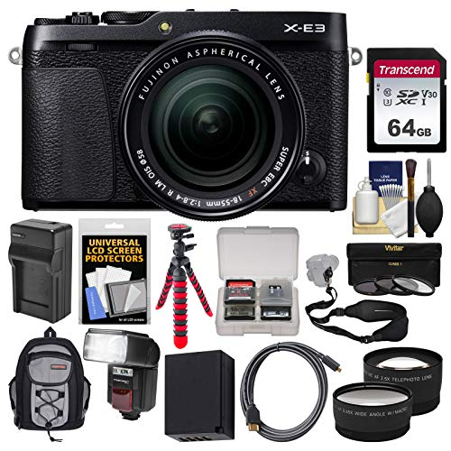 Fujifilm X-E3 4K Digital Camera & 18-55mm XF Lens (Black) with 64GB Card + Backpack + Flash + Battery & Charger + Tripod + Filters Kit