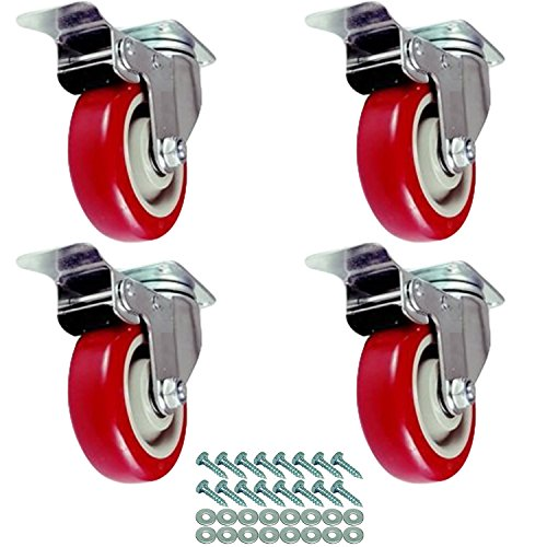 (FactorDuty 4 Pack Caster Wheels Swivel Plate On Red Polyurethane Wheels with HD Hardware Kit (4