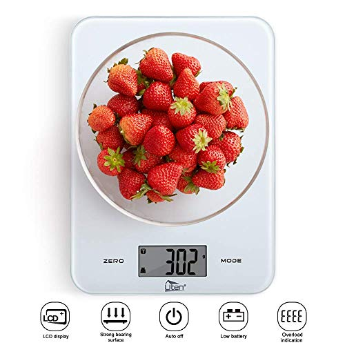 Uten Digital Kitchen Food Scale with Back-Lit LCD Display, Tempered Glass Surface Touch Screen, Battery Included