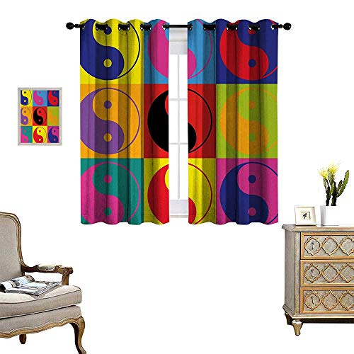Ying Yang Waterproof Window Curtain Pop Art Design Yin Yang Signs Hippie Style Eastern Asian Decorations Peace and Balance Blackout Draperies for Bedroom W55 x L45 Multi
