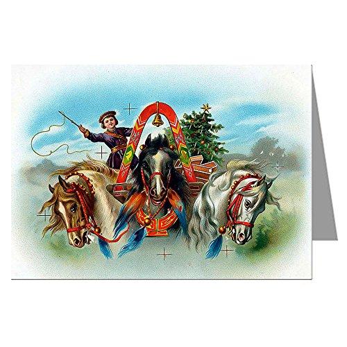 Single Greeting Card Of Gebruder Klingenburg Girl Riding Three Horses, Christmas Holiday Ephemera