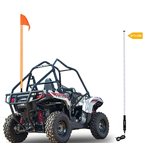 Beatto 5FT(1.5M) Orange LED Whip Light LED Safety Flag Whips Light LED Antenna Light For Off- Road Vehicle ATV UTV RZR Jeep Trucks Dunes