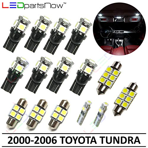 - LEDpartsNow Interior LED Lights Replacement for 2000-2006 Toyota Tundra Accessories Package Kit (15 Bulbs), WHITE