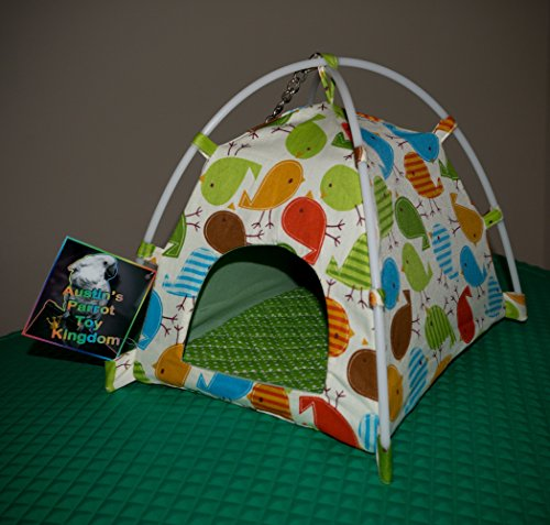 Austin's Parrot Toy Kingdom Colorful Pet Bird Hammock Tent Handcrafted Nesting Tent for your Parrot Bird Companion - Vibrant Fun Fabric Print to Stimulate & Entertain your Pet (Large) by Austin's Parrot Toy Kingdom