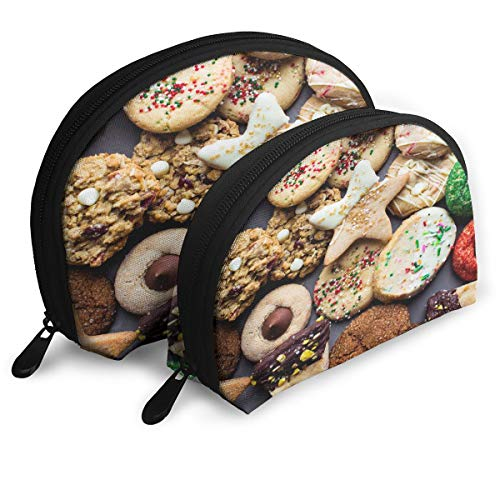 Makeup Bag Fun And Festive Christmas Cookies Portable Shell Pouch For Women Halloween Gift 2 Pack]()