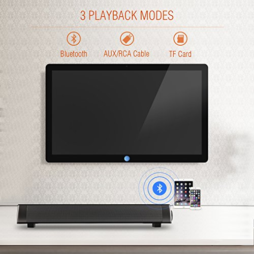 Soundbar [2018 UPGRADED] Surround Sound Bar Home Theater System With Wired, TF Card, Bluetooth Speaker - Wireless Surround Sound Bar For TV, PC, Cellphone, Tablet(NakaLight,Remote Control,Black)