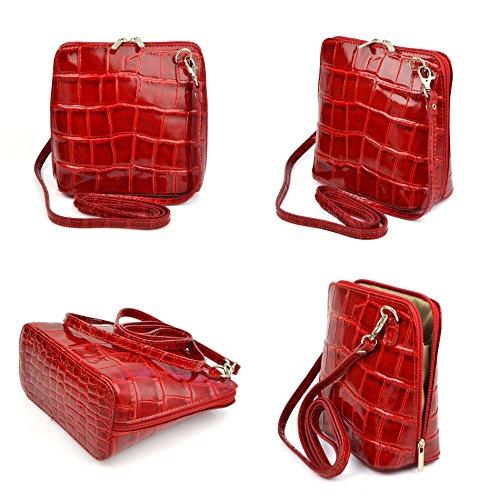 fbe1c22bffd29 ... Vera Pelle Handtaschen Italien Echt Leder Schultertasche Frauen Damen  Tasche Handtasche Ital Bag Rot Lack Crock