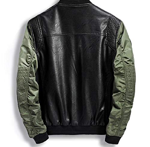PU Jacket Faux Thick Mogogo Stitch Zip Leather Green Men's Coats Stand Collar Military TCx4H