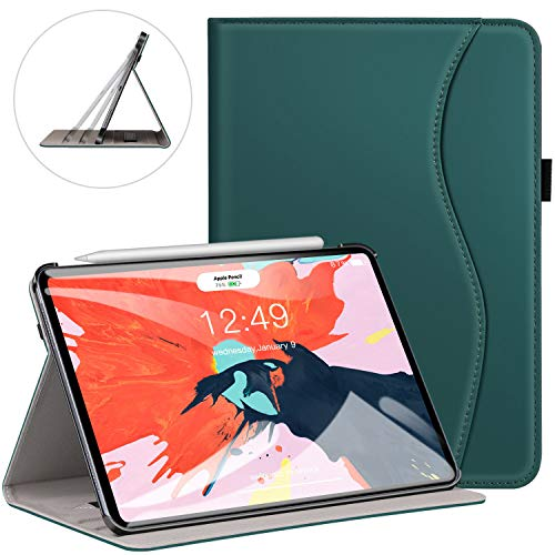 (Ztotop for iPad Pro 12.9 Case 2018, Premium PU Leather Slim Stand Cover Folio Case for 2018 iPad Pro 12.9-inch 3rd Generation (Latest Model) with Auto Sleep/Wake, Pencil Strap Holder - Dark Green)