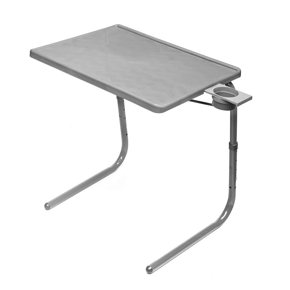 Table Mate II Folding TV Tray Table and Cup Holder with 6 Height and 3 Angle Adjustments The Original TV Tray (Silver) (Renewed) by Table-Mate
