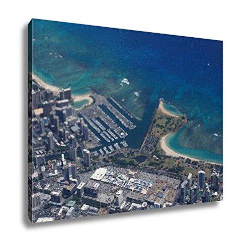 Ashley Canvas, Waikiki Ala Wai Canal Ala Moana Mall Park And Ocean, Kitchen Bedroom Dining Living Room Art, 24x30, - Moana Mall Ala Hawaii