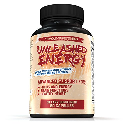 Unleashed Energy - Advanced Support for Focus and Energy, Brain Functions, Healthy Heart - Nootropics Supplement - B Vitamins - Caffeine - No Calories - 60 Capsules - Money Back Guaranteed
