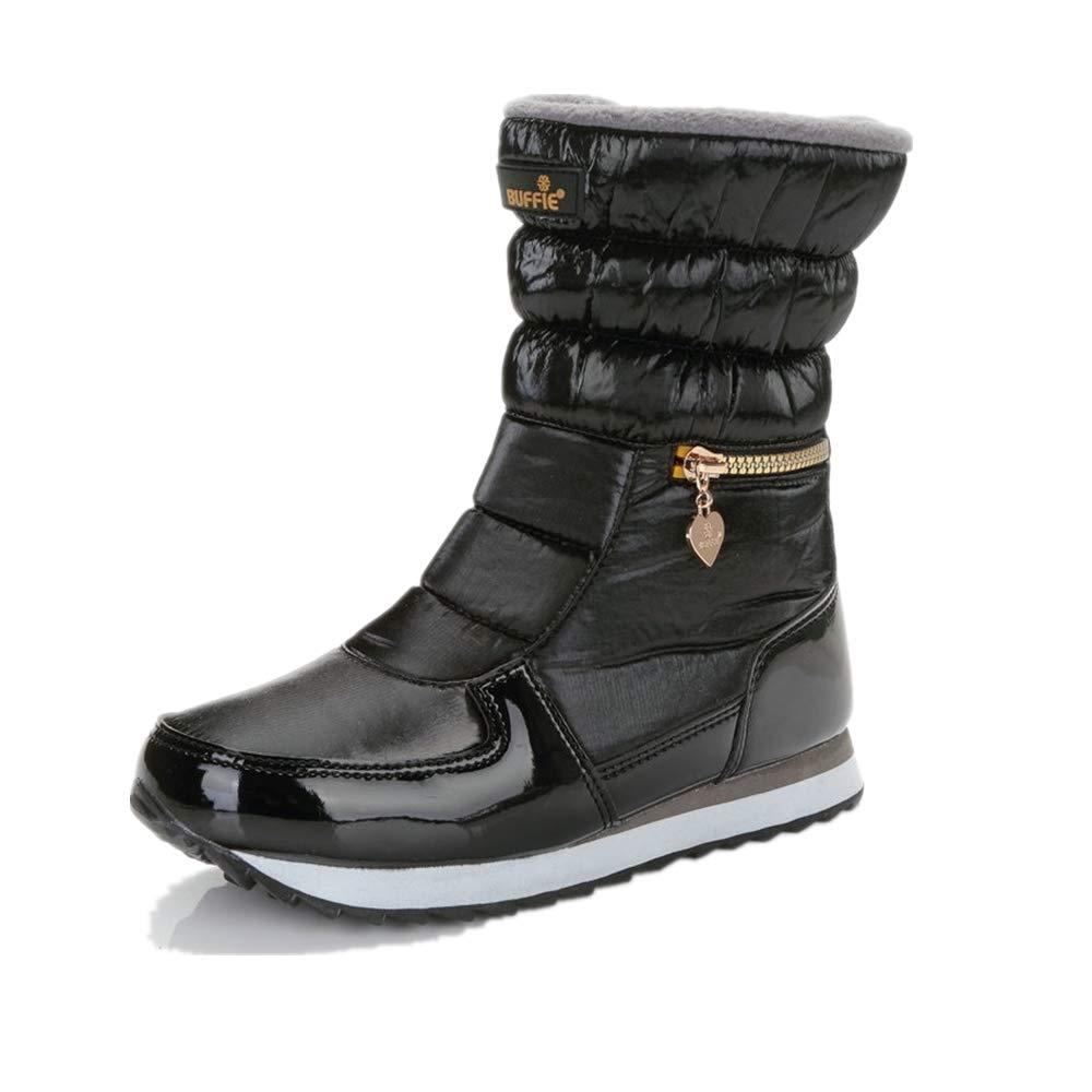 Black LingGT Women Casual Snow Boots Warm Zipper Ankle shoes (color   Black, Size   CA 9)