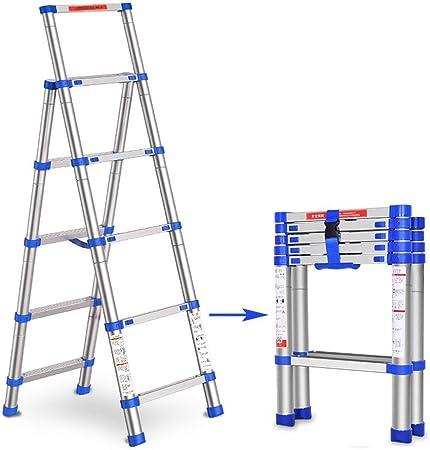 WGOOGA 5.4 pies Escalera de renovación Telescópica Extensión de Escalera Alta Marco en A Extensión Profesional Escalera telescópica Loft Antideslizante Escala Carga 150 kg: Amazon.es: Hogar