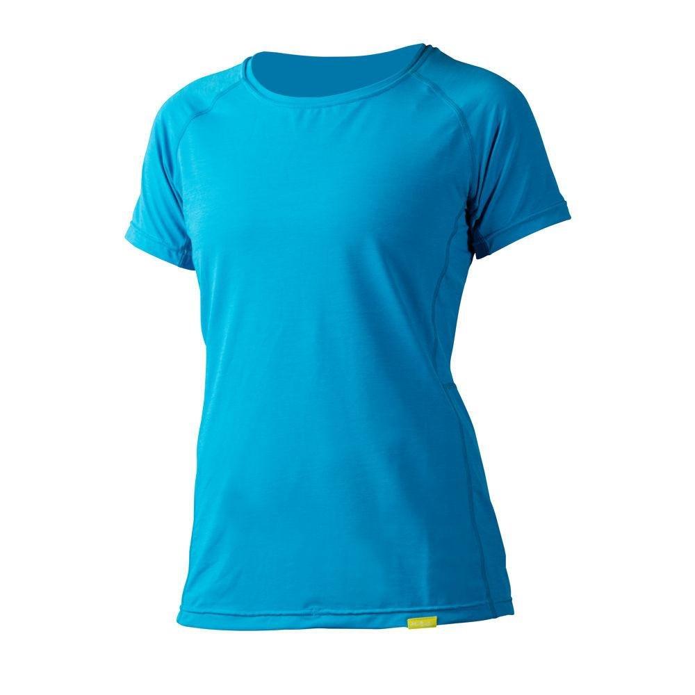 NRS H2Core Silkweight SS Shirt - Women's Azure Blue Heather Large by NRS