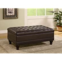 ... Toscana Home Interiors. Occasional Bench Style Storage Ottoman With  Tufted Accents In Dark Brown Finish!