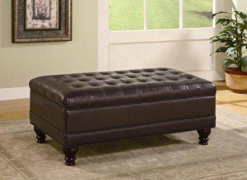 Toscana Home Interiors Occasional Bench Style Storage Ottoman with Tufted Accents in Dark Brown Finish