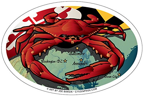 Citizen Pride Maryland Red Crab Oval Magnet, 6 x 4 inches - Euro Car Fridge Locker Vinyl Magnet