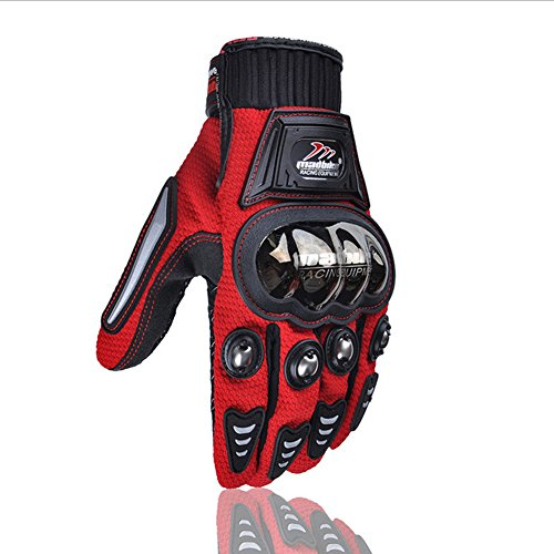 Carbon Fiber Motorcycle Motorbike Cycling Racing Full Finger Gloves (XXL, Red)