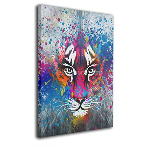 Baerg Colorful Tiger Face Frameless Decorative Painting Wall Art for Home and Office Decorations ()