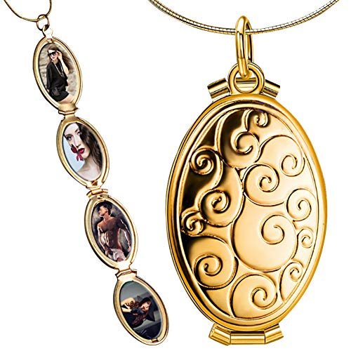 Nanafast 4 Pictures Expanding Photo Locket Necklace Pendant Memorial Gifts for Women Girls 18K Gold Plated Style 2