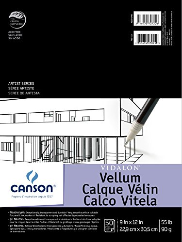 Canson Artist Series Vidalon Vellum Paper Pad, Translucent and Acid Free for Pencil, Ink and Markers, Fold Over, 55 Pound, 9 x 12 Inch, 50 Sheets