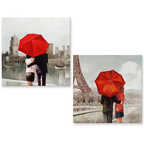 Genius Decor - Paris Couple in Rain Under Red Umbrella Canvas Wall Art Print Modern White Gray and Red Decor