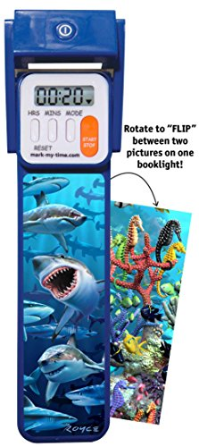 """Mark-My-Time 3D """"FLIP"""" Shark/Reef Digital LED Booklight Reading Timer by Mark-My-Time (Image #1)'"""