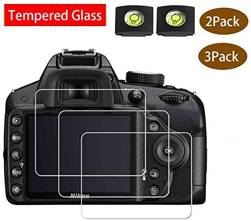 D3400 Screen Protector Appliable for Nikon D3500 D3400 D3300 D3200 D3100 DSLR Camera & Hot Shoe Cover,[2+3Pack] BTER 9H Hardness Tempered Glass Flim Anti-Scrach Anti-Fingerprint Anti-Bubble Anti-Water