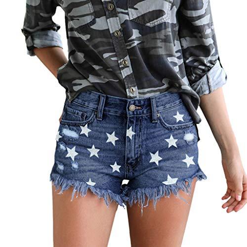 4th of July Patriotic Denim Shorts Womens Hot Pants Summer Star Print High Waist Ripped Tassel Casual Jeans with Pocket (Dark Blue, L)