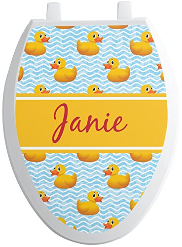 Elong Toilet Seat - RNK Shops Rubber Duckie Toilet Seat Decal - Elongated (Personalized)